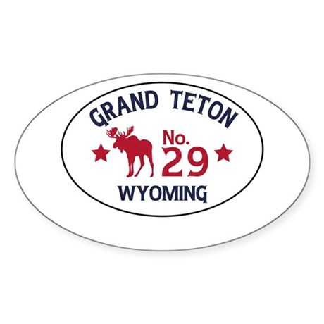 Grand Teton Moose Badge Sticker (Oval)
