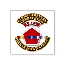 "Army - 5th RCT - w Korean Svc Square Sticker 3"" x"