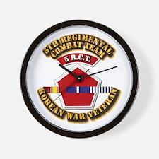 Army - 5th RCT - w Korean Svc Wall Clock