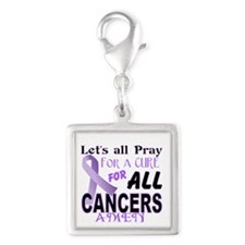 All Cancer Silver Square Charm
