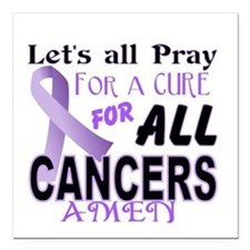 "All Cancer Square Car Magnet 3"" x 3"""
