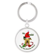 Airedale Terrier Christmas Round Keychain