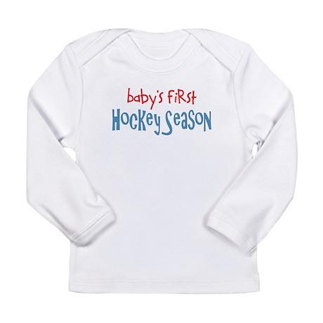babys first hockey season text Long Sleeve T-Shirt