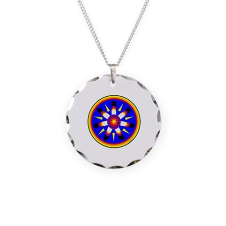 EAGLE FEATHER MEDALLION Necklace Circle Charm