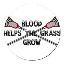 Lacrosse blood helps the grass gr Round Car Magnet