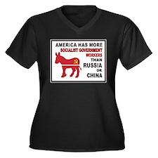 SOCIALISTS Women's Plus Size V-Neck Dark T-Shirt