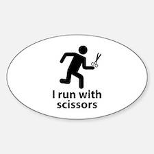 I run with scissors Sticker (Oval)