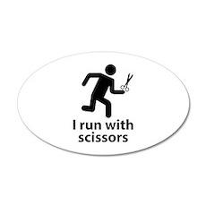 I run with scissors 22x14 Oval Wall Peel