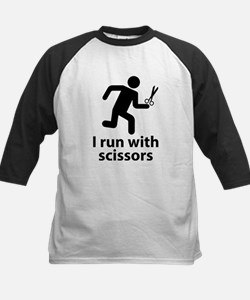 I run with scissors Kids Baseball Jersey