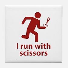 I run with scissors Tile Coaster