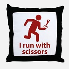I run with scissors Throw Pillow