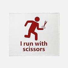 I run with scissors Throw Blanket