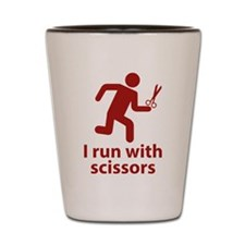 I run with scissors Shot Glass