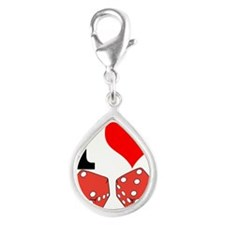 I Love to Gamble Silver Teardrop Charm