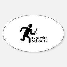 runs with scissors Sticker (Oval)