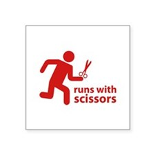 """runs with scissors Square Sticker 3"""" x 3"""""""