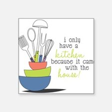 "A Kitchen Square Sticker 3"" x 3"""