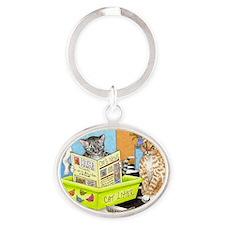 cat 464.jpg Oval Keychain