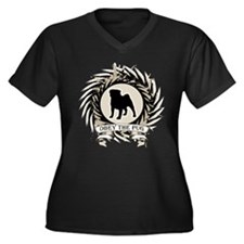 Obey The Pug Women's Plus Size V-Neck Dark T-Shirt