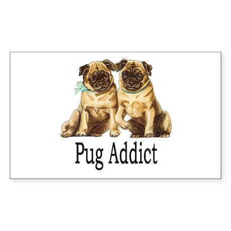 Pug Addict Sticker (Rectangle)
