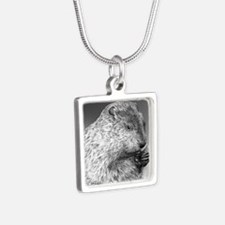 Punxsutawney Phil pillow Silver Square Necklace