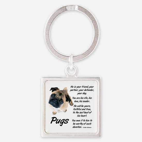 Pug Your Friend Square Keychain