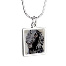 Flat Coated Retriever Silver Square Necklace