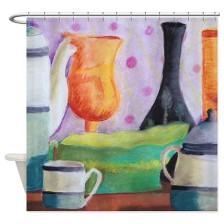 Bottlescape II - Orange Green Shower Curtain