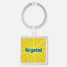 Krystal Sunburst Square Keychain