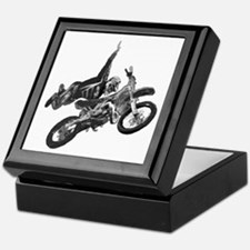 Freestyling on a dirt bike Keepsake Box