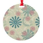 Swirl Flowers Round Ornament