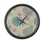 Swirl Flowers Large Wall Clock