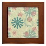 Swirl Flowers Framed Tile