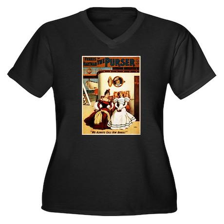 play Women's Plus Size V-Neck Dark T-Shirt