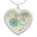Swirl Flowers Silver Heart Necklace
