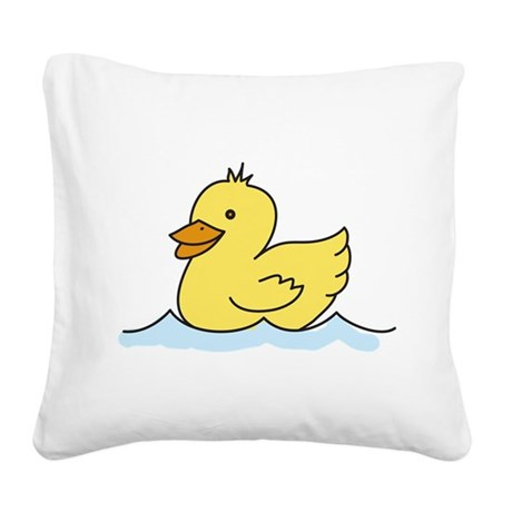 Duck Swimming Square Canvas Pillow