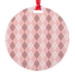 Pink Argyle Round Ornament