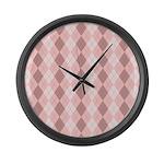 Pink Argyle Large Wall Clock