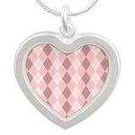 Pink Argyle Silver Heart Necklace