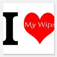 """I Love My Wife Square Car Magnet 3"""" x 3"""""""
