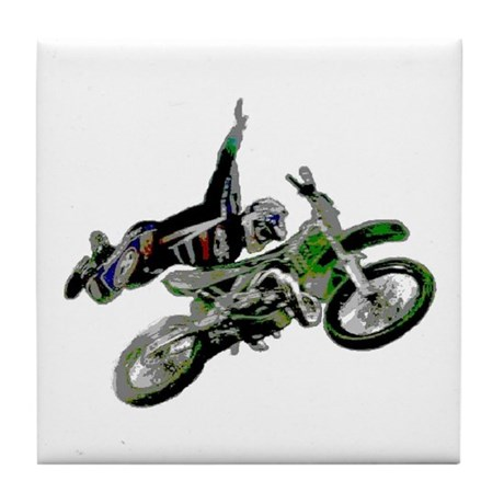 Freestyling on a dirt bike Tile Coaster