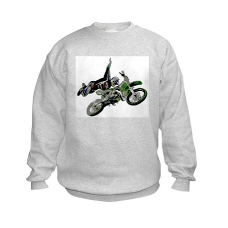 Freestyling on a dirt bike Kids Sweatshirt