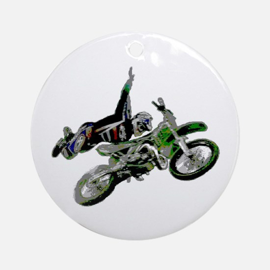 Freestyling on a dirt bike Ornament (Round)
