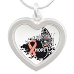 Hope Uterine Cancer Silver Heart Necklace