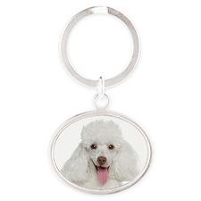 Poodle Mom Oval Keychain