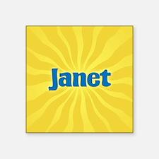 "Janet Sunburst Square Sticker 3"" x 3"""
