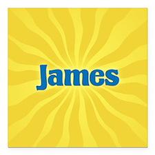 "James Sunburst Square Car Magnet 3"" x 3"""