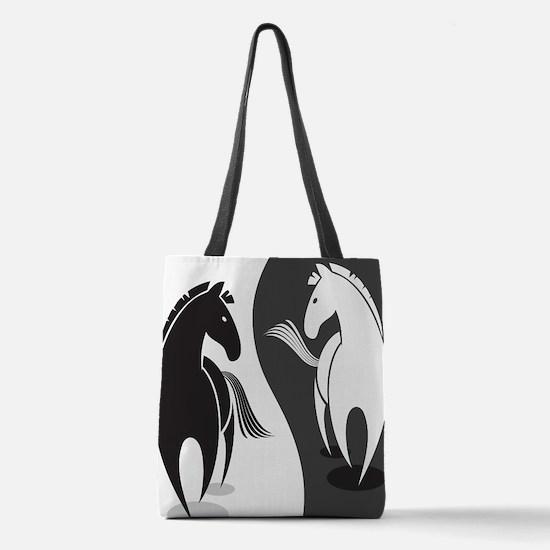 Yin Yang Horses Polyester Tote Bag