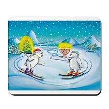 Chrismukkah Skiing Bears Mousepad