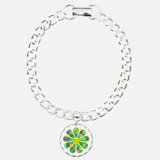 Cool Flower Power Charm Bracelet, One Charm